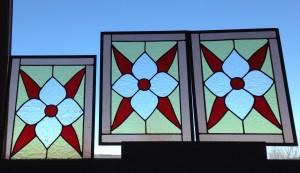 Floral glass panels, historic colors